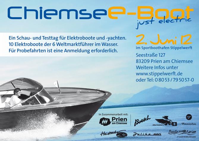 Ein Schau- und Testtag für Elektroboote und –yachten. 10 Elektroboote der Weltmarktführer im Wasser zum Testen. Eine einzigartige Gelegenheit.  Anmeldung für Probefahrten unter Tel: 08053-7950570 erforderlich.